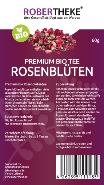 Rosenblütentee Bio 60g | Robertheke