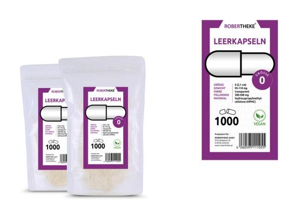 1.000 Vegan&Getrennt Leerkapseln Größe 0 Vegi